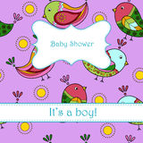 Baby shower with birds boy Stock Photos