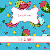 Baby shower with birds girl Royalty Free Stock Image