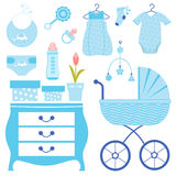 Baby shower in blue Royalty Free Stock Images