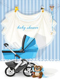 Baby shower blue card Royalty Free Stock Images