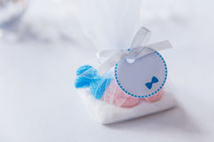 Baby shower blue sweets gift box Royalty Free Stock Photo