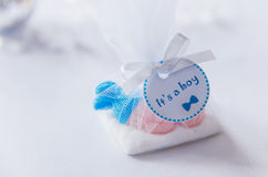 Baby shower blue sweets gift box drawn boy Royalty Free Stock Photography