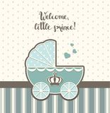 Baby shower, blue vintage stroller with royal crown , illustration Stock Image