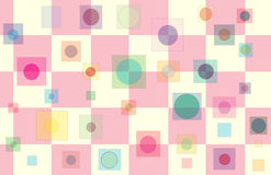 Baby Shower Box 5. Pink & Yellow Checker pattern with floating multi-colored squares with round centers Stock Photos