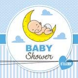 Baby shower boy. Baby boy sleeping on the moon vector illustration