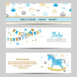 Baby Shower boy banners vector set in blue and golden colors. Baby Shower boy banners vector set in blue and glittering golden colors stock illustration