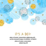 Baby Shower boy card design with abstract circles. Baby Shower boy card design with abstract watercolor blue and glittering golden circles Stock Photos