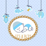 Baby shower boy card design with sleeping newborn baby. Stock Photos