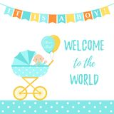 Baby Shower boy card. Vector illustration. Blue banner with pram royalty free illustration