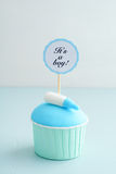 Baby shower boy cupcake. Baby shower cupcake for a boy with fondant and a baby bottle stock photography