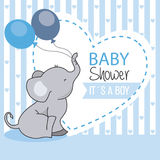 Baby shower boy. Elephant with balloons Stock Images