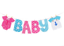 Baby shower boy and girl decoration garland. Isolated on white royalty free stock photo