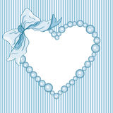 Baby shower boy heart frame and ribbon Royalty Free Stock Photos