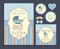 Baby shower boy, invitation card Stock Photography