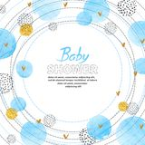 Baby Shower Boy invitation card design with watercolor blue circles. Circle frame with place for text vector illustration