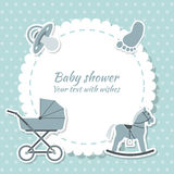 Baby shower boy. Invitation card. Place for text.  Greeting cards Stock Photo