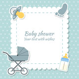 Baby shower boy. Invitation card. Place for text.  Greeting cards Royalty Free Stock Image