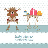 Baby shower boy. Invitation card. Place for text.  Greeting cards. Vector illustration Royalty Free Stock Images
