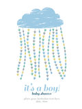Baby shower boy invitation. Cloud, hearts, drops royalty free illustration