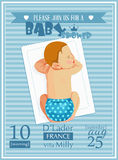 Baby shower boy invitation template vector illustration. Stock Images