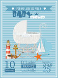 Baby shower boy invitation template vector illustration with vintage pram Royalty Free Stock Photo