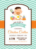 Baby shower boy invitation Royalty Free Stock Image