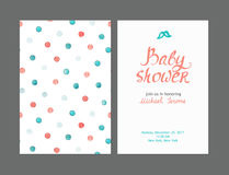 Baby shower boy invitations, vector templates. Pastel cards with watercolor dots and hand drawn text on light background royalty free illustration