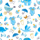Baby shower boy seamless pattern. stock illustration