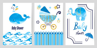 Baby shower boy set. Vector invitation cards Royalty Free Stock Photo