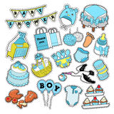 Baby Shower Boy Stickers, Badges, Patches for Birthday Party Decoration Royalty Free Stock Photos