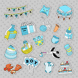 Baby Shower Boy Stickers, Badges, Patches for Birthday Party Decoration. Vector Doodle royalty free illustration