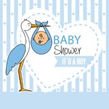 Baby shower boy. Baby shower. Stork with baby boy Royalty Free Stock Image