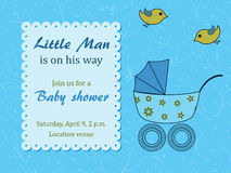Baby shower for boy with stroller and birds Royalty Free Stock Photos