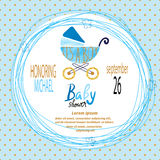 Baby shower boy. Vector invitation card Royalty Free Stock Photo
