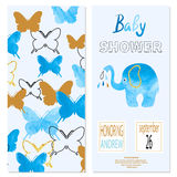 Baby shower boy. Vector invitation card design with butterflies Royalty Free Stock Photo