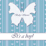 Baby shower boy vintage with butterfly banner Stock Photography
