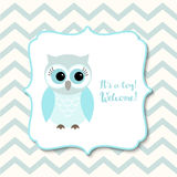 Baby shower for boys with blue owl, illustration Royalty Free Stock Photography