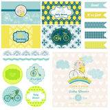 Baby Shower Bunny and Bike Party Set Royalty Free Stock Photos
