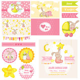 Baby Shower Bunny Theme. Scrapbook Design Elements - Baby Shower Bunny Theme - in vector Royalty Free Stock Images