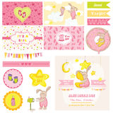 Baby Shower Bunny Theme. Scrapbook Design Elements - Baby Shower Bunny Theme - in vector Royalty Free Stock Photos