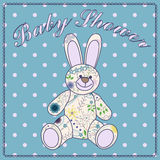 Baby shower with bunny toy Stock Photos
