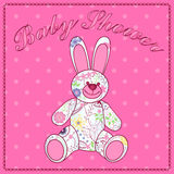 Baby shower with bunny toy Stock Photo
