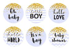 Baby Shower Candy Bar Vector Tag Set. 6 Cute Circle Shape Tags. Golden Tiny Confetti Falling on a Blue Background.Blue Smooth Background or With White Stripes Stock Photography