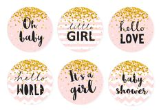 Baby Shower Candy Bar Vector Tag Set. Six Cute Pink Circle Shape Tags With Golden Tiny Confetti. Baby Shower Candy Bar Vector Tag Set. Six Cute Circle Shape Tags vector illustration
