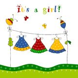 Baby shower card. Colorful graphic illustration for greeting card Stock Image