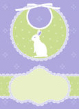 Baby shower card. Baby card announcement with bib and white rabbit Royalty Free Stock Image