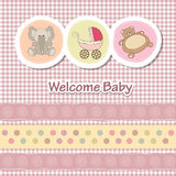Baby shower card. With funny animals Stock Photography