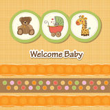 Baby shower card with. Funny animals Royalty Free Stock Photography