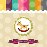 Baby shower card. With rocking horse Stock Photography