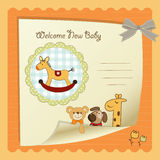Baby shower card. With wooden horse toy Royalty Free Stock Image